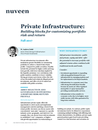 Private Infrastructure: Building blocks for customizing portfolio risk and return