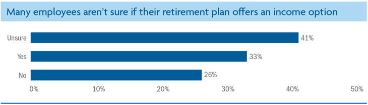 Many employees aren't sure if their retirement plan offers an income option