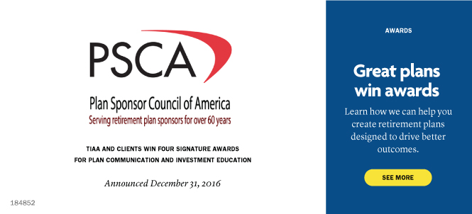 PSCA. Great plans win awards. Learn how we can help you create retirement plans designed to drive better outcomes. See more