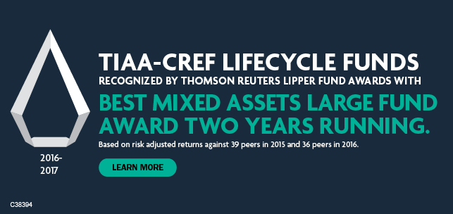 TIAA-CREF Lifecycle Funds Recognized by Thomson Reuters Lipper Fund Awards with 2016 Best Mixed Assets Large Fund Award. Learn more