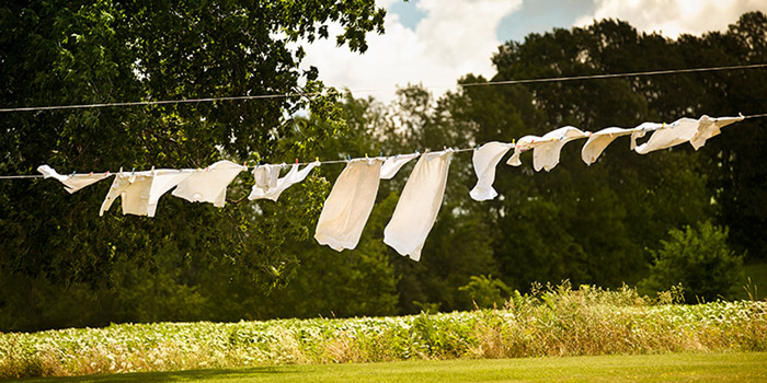 Laundry drying on the line outside